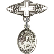 Sterling Silver Baby Badge with St. Leo the Great Charm and Badge Pin with Cross 2.5cm X 1.9cm
