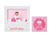 Tiny Ideas Baby's First Birthday Milestone Baby Belly Sticker and Keepsake Photo Frame Gift Set, Pink