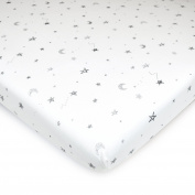 American Baby Company Printed 100% Cotton Jersey Knit Fitted Portable/Mini-Crib Sheet, Grey Stars and Moon