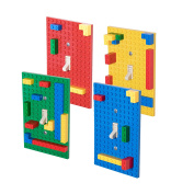 Premium Blue, Green, Red, and Yellow Building Bricks Light Switch Cover Plate 4 Pack - Compatible with All Major Brands
