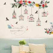 Witkey Birdcages Flowers Flying Birds Wall Stickers Birdhouse Decals Removable Art Wall Stickers home décor PVC For Kid Room Bedroom Wallpaper