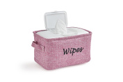 Dejaroo Baby Wipe Storage Bin - Nursery Organiser Caddy - Embroidered Eco-friendly Linen