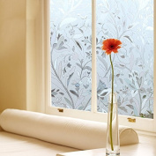 Window film, Bloss Fashion Hibiscus Opaque Frosted Glass window Film Window cling, 3 ft X 6.5ft.
