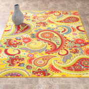 Sweet Home Stores Sweet Home Collection Paisley Design Yellow Indoor & Kitchen Area or Runner Rug