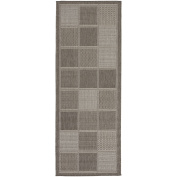 Berrnour Home Summer Collection Natural Geometric Boxes Design Indoor / Outdoor Runner Rug, 0.6mX2.1m
