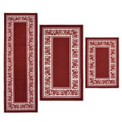 Madison Home 3 Piece Floral Border Red Area Rug Set