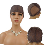 Nobel Hair Foundation Wig Caps for Making Wig with Adjustable Sturdy Straps Swiss Lace Medium Brown Colour, Medium Size