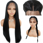 BeautyGal Black Long Straight Braid Lace Front Wig Free Part Synthetic Lace Wigs With Baby Hair,80cm