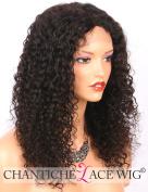 Chantiche Glueless 10cm x 10cm Silk Top Lace Front Human Hair Wigs Brazilian Curly Wig for Black Women 36cm #1B