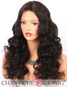 Chantiche Best Body Wave Silk Top Human Hair Wigs Brazilian Remy Hair 10cm x 10cm Deep Part Silk Base Lace Wig for Back Women 46cm Natural Colour