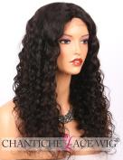 Chantiche Soft Curly 10cm x 10cm Silk Top Wig Human Hair-Brazilian Remy Human Hair Lace Front Wigs for Black Women 50cm #1B
