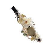 Hanabe Handmade Natural Mother of Pearl Nugget Crystal Glass Beaded Hair Pin Barrette Grey White Beige