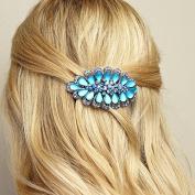 QueenMee Silver Barrette Silver Hair Clip Crystal Hair Clip Rhinestone Hair Barrette Rhinestone Hair Clip Large Hair Clip Metal