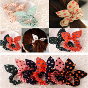 Bows For Girls - Hair Clips For Girls - Scrunchies For Hair - 8Pcs/Lot Mix Style Flower Bunny Hair Clip Rabbit Ears Dot Rubber Hair Elastic Rings Hair Rope Hair Accessories Hairstyles braid