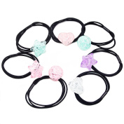 7 pcs Fancyin Assorted Colourful Cracked Ice Popular Pony-hair Holders Hair Ties Elastic Hair-Bands for girls