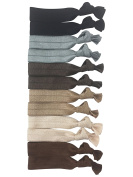 New Style Cyndibands Thick Hair Large Knotted No-Snag Elastic Hair Ties (Neutral Colours) 12 Pack