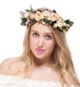 Bridal Flower Crown Wedding Headband Boho Style Womens Floral Wreath Garland Halo with Adjustable Ribbon for Wedding Festivals Travel Vacation