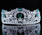 Janefashions Green Austrian Rhinestone Crystal Tiara Hair Combs Crown Bridal Silver Prom T813