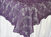 140cm x 270cm Lace Table Overlays, Lace Tablecloths Square, Lace Table Overlay Linens, Lace Table Toppers for Wedding Decorations, Events Banquet Party Supplies – Eggplant