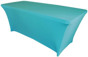 Wedding Linens Inc. Wholesale (200 GSM) 1.8m Rectangular Spandex Stretch Fitted Table Cover Tablecloths Turquoise