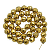 """AD Beads Natural Faceted & Smooth Metallic Hematite Round Gemstone Loose Beads 16"""" 2mm 3mm 4mm 6mm 8mm 10mm (10mm, Metallic Gold"""