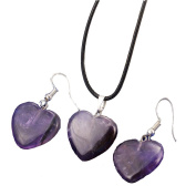 Natural stone heart-shaped necklace earrings