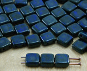 40pcs Picasso Brown Opaque Dark Blue Sapphire Tile Flat Square 2 Two Hole Czech Glass Beads 6mm