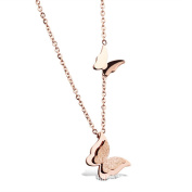 Myhouse Simple Double Butterfly Necklace Women Charm Necklace