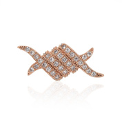 SouthBeat Micro Pave Ribbon Shaped Bracelet Connector Beads Clear CZ Cubic Zirconia for Men Women Bracelets Charm Beads 21x9mm