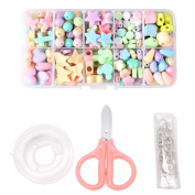 Whatsin DIY Educational Toys Beads Set Beading Kit Decor Gifts Kids Jewellery Craft Box with Children Scissor & Crystal String Cord & Clasp