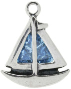Sterling Silver Blue Crystal Sailboat Charm Item #44619