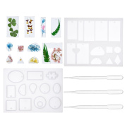 Antner 2 Pack Jewellery Making Moulds Cabochon Resin Pendant Moulds and Burettes for DIY Jewellery
