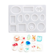 Pendant Mould High-Definition Mirror Silicon Jewellery Moulds with Hanging Hole for Resin Epoxy,Earring Necklace Making and DIY Jewellery Craft Making,Semi-transparent 12 Shapes