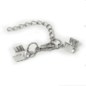 20pcs Necklace Bracelet Flat Leather Cord Crimp ends extended extension chains tails caps lobster clasp swivel hooks