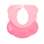 ACTLATI Bear Bath Shampoo Protection Hat Soft Silicone Cute Bathing Hat Adjustable Baby Shower Cap Pink