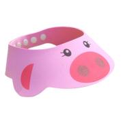 ACTLATI Baby Kids Bath Shampoo Protect Hat Cartoon Children Adjustable Soft Bathing Shower Cap Sunshade Shield Visor Pink