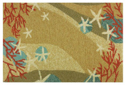 Hand Hooked Coral Waves Area Rug