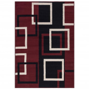 Sweet Home Stores Clifton Collection Modern Boxes Design Dark Red Living and Bedroom Area Rugs