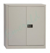 Office Stationery Metal Filing Cupboard Cabinet 2 Door Grey + 1 Shelf 1016mm H