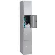 Bisley 4 Door Locker - 2 Keys Per Lock - Label Holders - Goose Grey