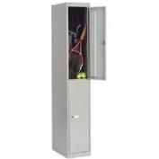 Bisley 2 Door Locker - 2 Keys Per Lock - Label Holders - Grey Goose