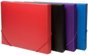 A4 Solid Plastic Box File Office Elasticated Document Storage Folder
