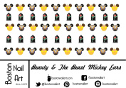 Beauty & The Beast Mickey Ears - Waterslide Nail Decals - 50pc