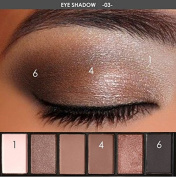 Thinkmax 6 Earth Colours Lasting Retro Smoky Eyeshadow Palette Cosmetic Makeup Kit with Mirror and Double End Brush - 55g