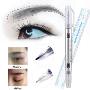 Skin Marker Pen,Double Ended Purple Ink Pen With Ruler, for Tattoo Piercing Permanent Makeup