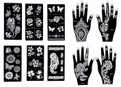 Stencils for Henna Tattoos (10 Sheets) Self-Adhesive Beautiful Body Art Temporary Tattoo Temples, Henna, Flower, Butterfly Designs