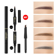 3 in 1 Automatic Eyebrow powder & Eyebrow brush & Automatic Eyebrow pencil with a refill pencil Professional 3D Eyebrow Cosmetic Makeup Tool Waterproof & Long-lasting brown#2