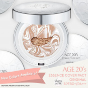 Age 20's Compact Foundation Premium Makeup, + 1 Extra Refill - Pink Latte Essence Cover Pact SPF50+ (Made in Korea) - Colour No. 35 - White / Dark Beige Latte