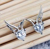 Jesica Angel Wings Shape Crystal Silver Earring Ear Stud
