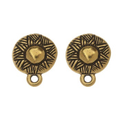 TierraCast Pewter Earring Post, Ethnic Design with Ring 14.5x12mm, 1 Pair, Antiqued Gold Plated